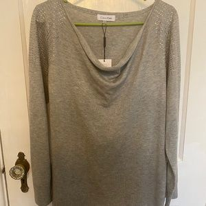 Calvin Klein gray silver studded sweater L  NWT